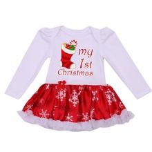 Одежда для новорожденных, одежда для малышей, для девочек, Рождество, Детский комбинезон с рюшами платье-пачка белый мой первый Новогодний костюм для 0-24Months