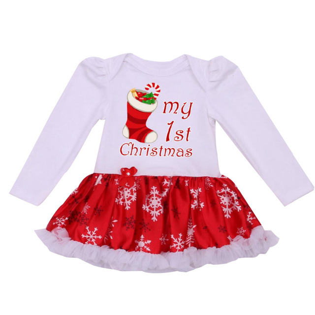 a41b9d079b9d Newborn Dress Baby Clothes Girls Chrismtas Rompers Ruffle Tutu Dresses  White My First Christmas Outfit for