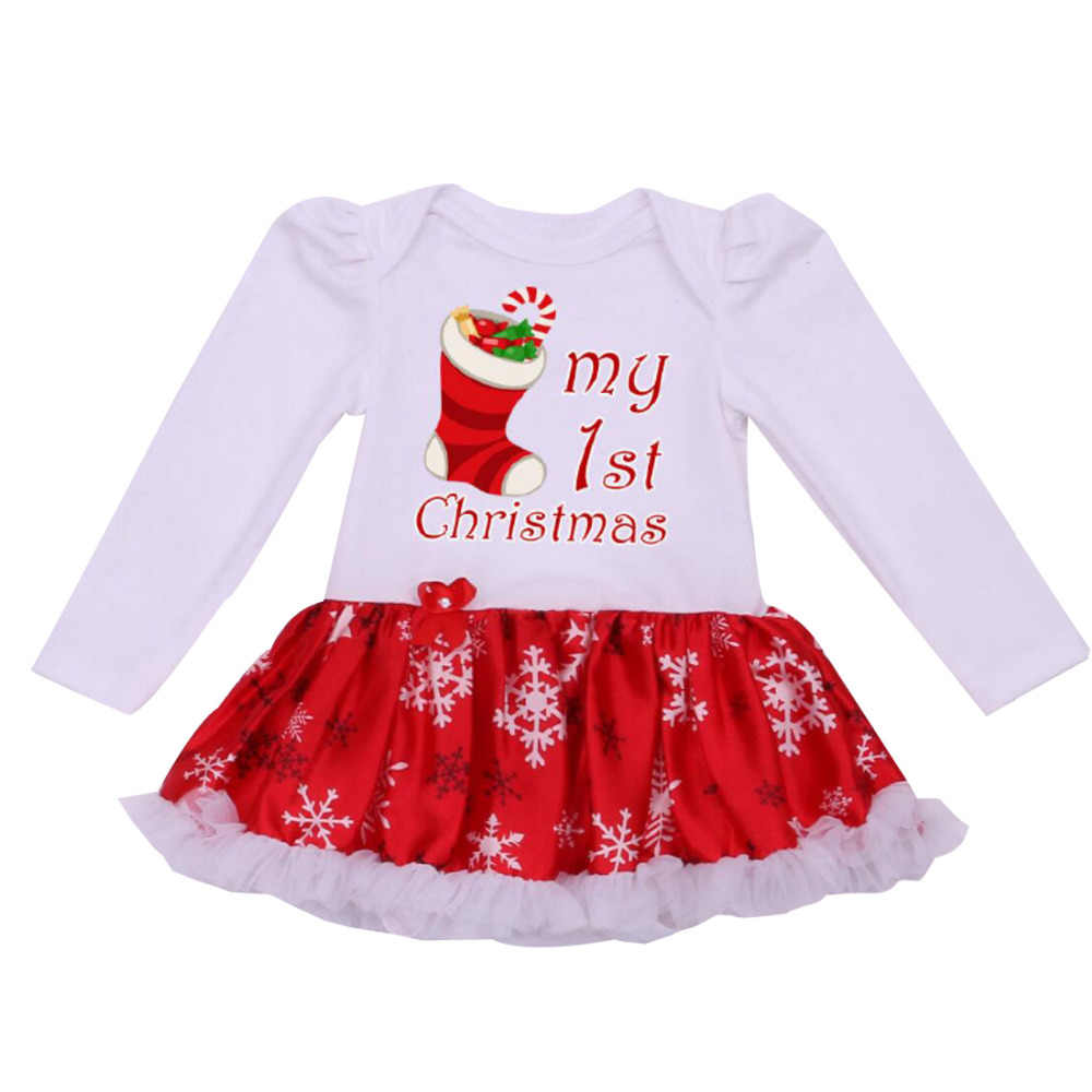 a7d19e9db Detail Feedback Questions about Newborn Dress Baby Clothes Girls Chrismtas  Rompers Ruffle Tutu Dresses White My First Christmas Outfit for 0 24Months  on ...