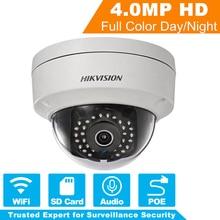 Оригинальный Hikvision Беспроводная ip-камера Wi-Fi 4MP POE безопасности ip купольная камера для системы видеонаблюдения DS-2CD2142FWD-IWS