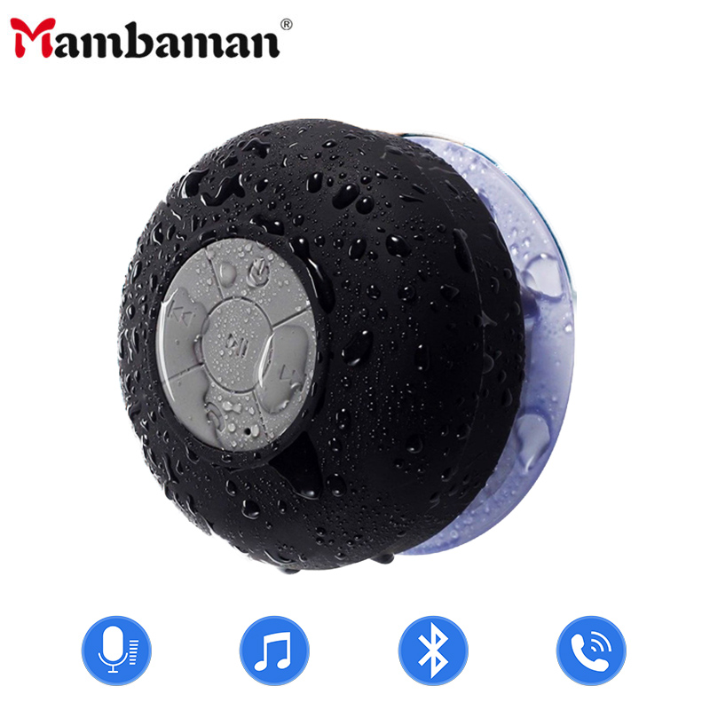 Hot Portabel Subwoofer Tahan Air Shower Speaker Nirkabel Bluetooth Handsfree Menerima Panggilan Musik Suction Mic Untuk iPhone Samsung