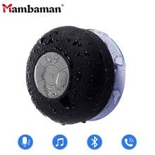 Mambaman Mini Bluetooth hoparlör taşınabilir su geçirmez kablosuz Handsfree hoparlörler, duş, banyo, havuz, araba, plaj ve açık