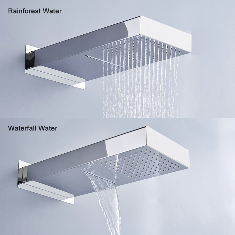 BECOLA Two Ways Waterfall Rain Shower Head Wall Mounted Stainless Steel Shower Faucet BR-9909