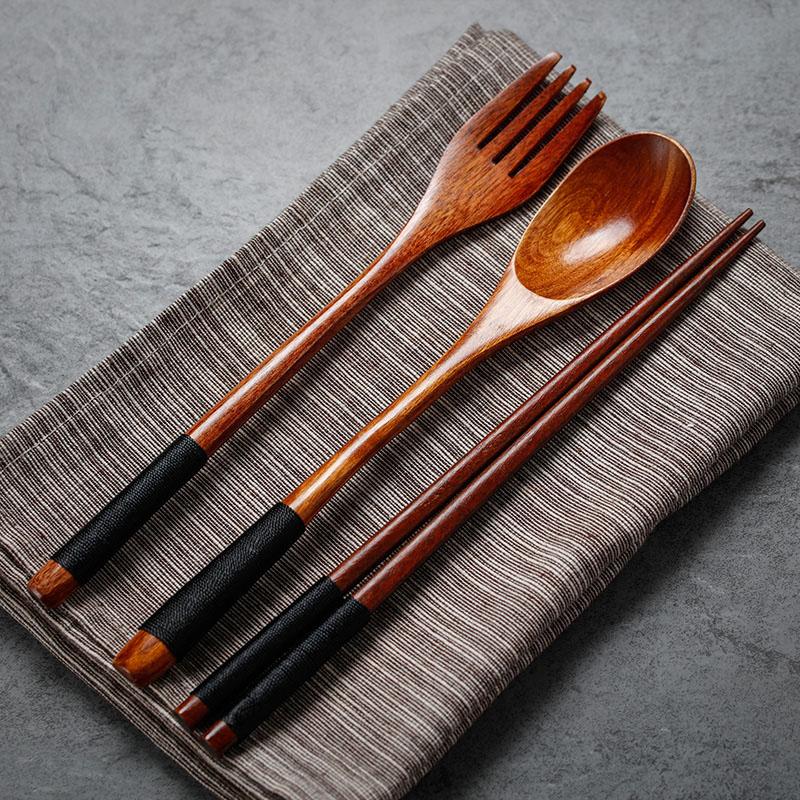 Set of 2 Wooden Spoon Fork Set Long Handle Japanese Style Wood Soup Spoon Dinner Salad Fork Kids Outdoor Cutlery Kitchen Utensils (6)