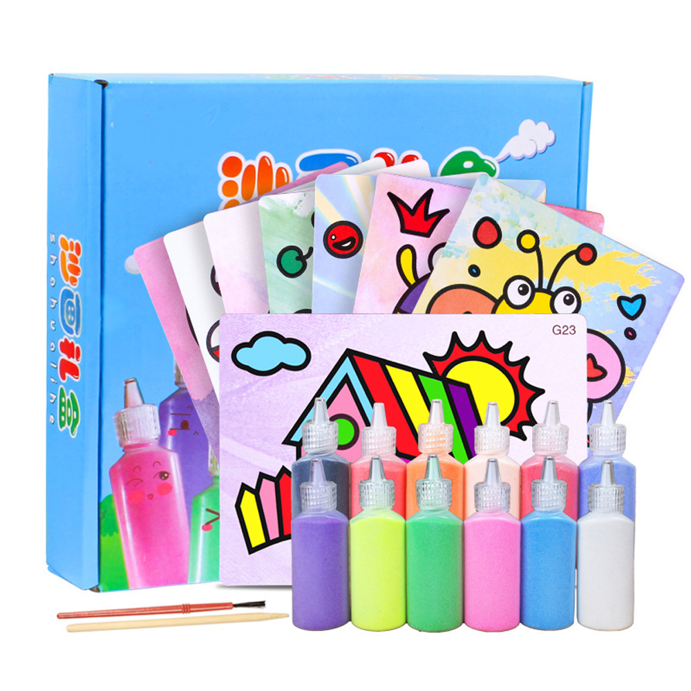 24pcs/set Kids Handmade Crafts Sand Painting Toys Art Painting Sand Paper Drawing Toys For Children Learning Educational