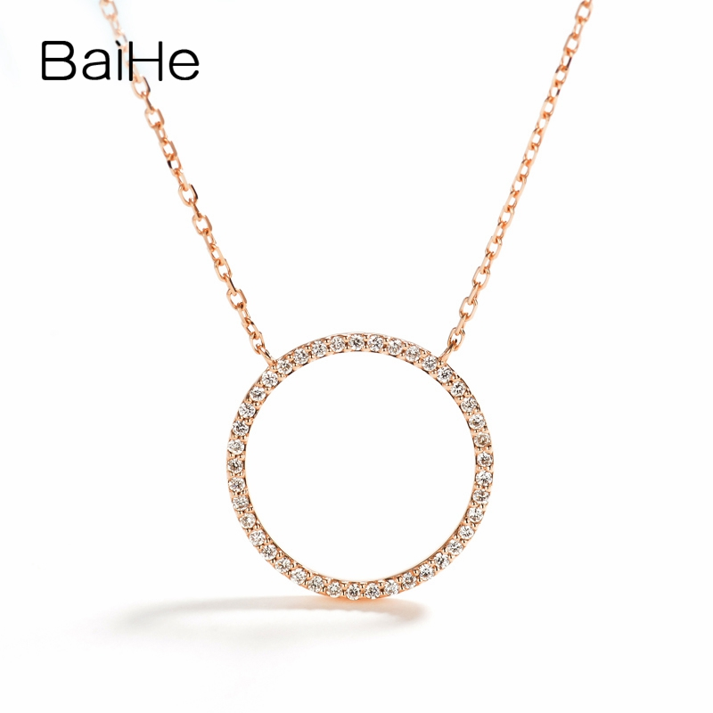BAIHE Solid 18K Rose Gold 0.16ct Certified F-G/SI 100% Genuine Natural Diamonds Anniversary Women Trendy Fine Jewelry Necklaces
