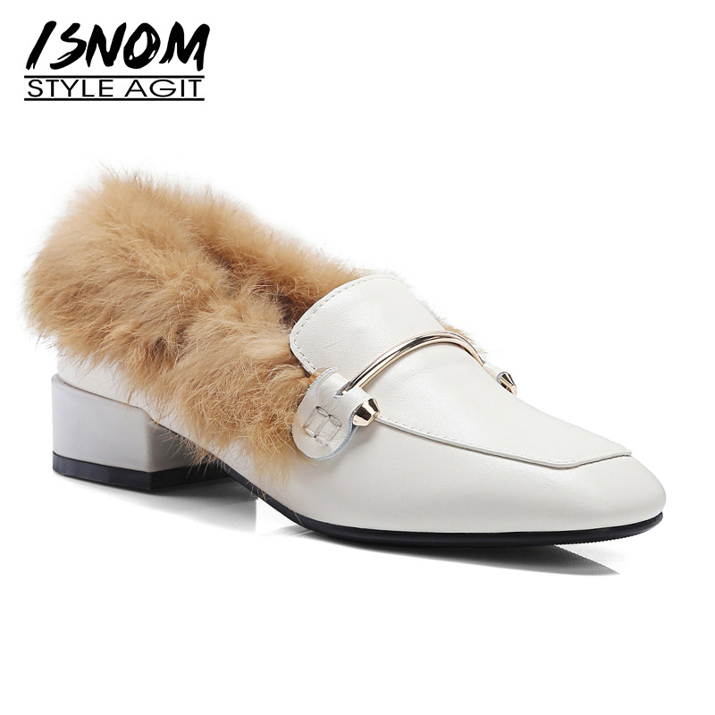 5906530cb6ba34 Bas Pompes Nouveau 2018 Casual En Carré blanc Isnom Fourrure Talons Leather  Black D'hiver Cuir Chaude Bout Mode brown Chaussures Flock Femme ...