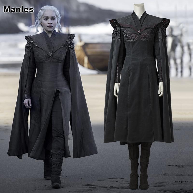 Game of Thrones Saison 7 Cosplay Daenerys Targaryen Costume Fantaisie Robe Noir Tenue Avec Cape Halloween Carnaval Costume Bottes