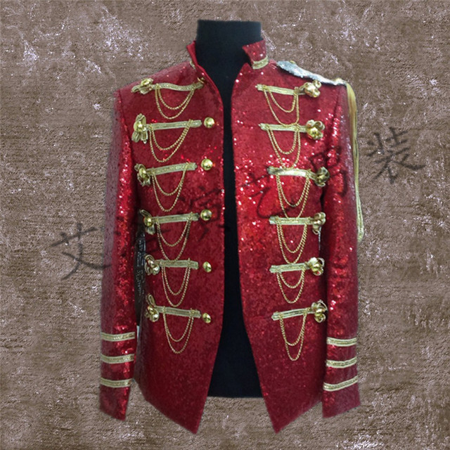 Customized new male singer performing stage star same paragraph clothes men cultivating glittering sequined suit jacket