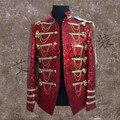 Personalizado novo macho cantor realizando estágio estrela mesmo parágrafo roupas glittering lantejoulas paletó dos homens que cultivam