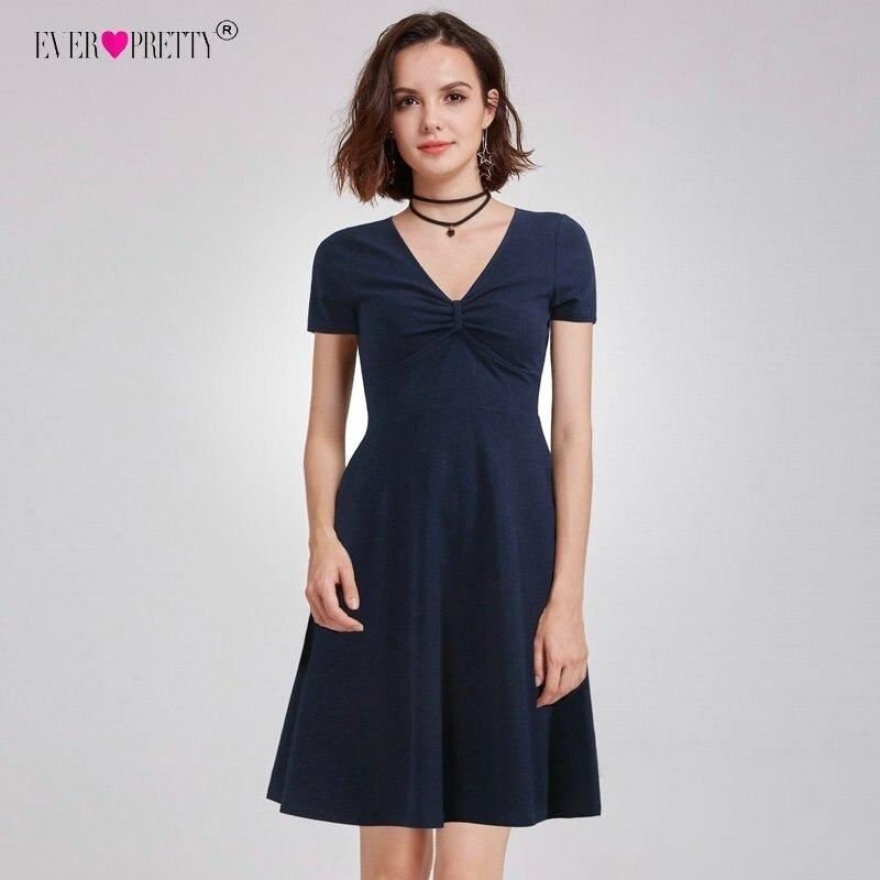 Cheap   Cocktail     Dresses   2018 Ever Pretty EZ03067NB Navy Blue A-line Mini Party Gowns Short Sleeves Casual Vestido Coctel Corto