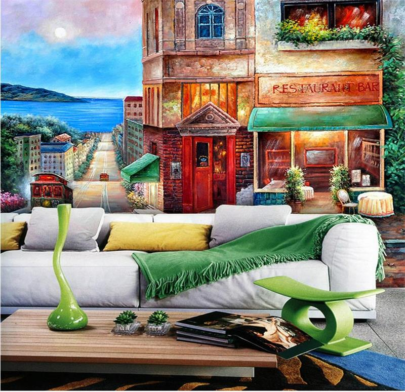 custom 3d photo wallpaper kids room mural Japanese town scenery 3d photo painting TV background non-woven wallpaper for wall 3d 3d room wallpaper custom mural non woven wall sticker 3d autumn trees road ladder porch painting photo wallpaper for walls 3d