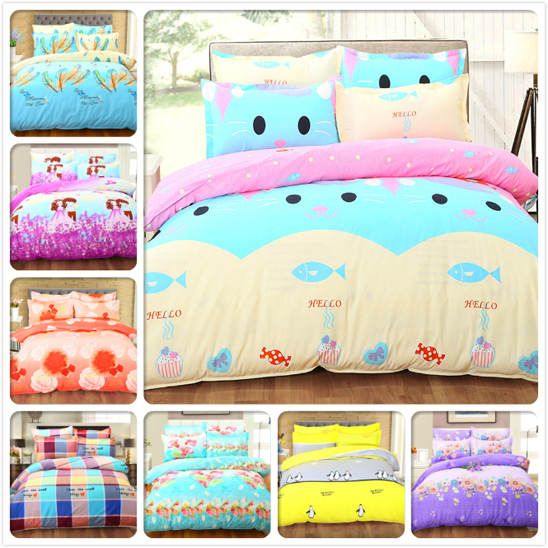 High Quality Kitty Cat Fish 4 pcs Bedding Set Twin Queen King Double Size Duvet Cover 1.8m 2m Bed Sheet Bed Linen Kid Bedclothes