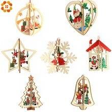3 jogos/lote 3d criativo natal pingentes de madeira ornamentos para casa festa de natal natal enfeites árvore presentes dos miúdos decorações