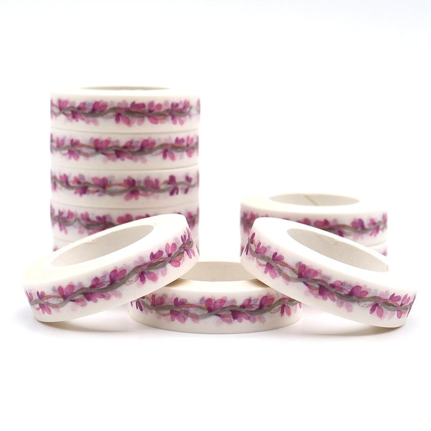 10m*10mm Purple Branch Pattern Washi Tape Pastel Decorative Adhesive School Office Supplies Masking Paper Tapes 1 PCS