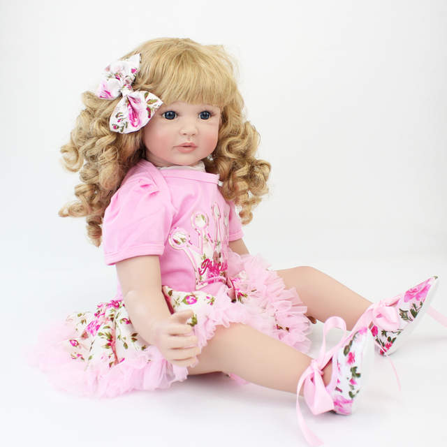 60cm Silicone Reborn Baby Doll Toys 24inch Vinyl Princess Toddler Babies Dolls Alive Birthday Gift Play