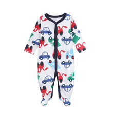 Newborn Baby Rompers 2016 Autumn Boys Long Sleeve Soft Cotton Car Printed Jumpsuits & Rompers Children One Pc Climbing Clothing