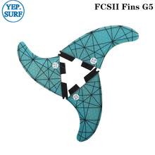 FCSII G5 M Size Surfboard Blue color Honeycomb Fins Tri fin set FCS 2 Fin Hot Sell FCS II Fin Quilhas fcsii g5 m size surf fins surfboard orange honeycomb fins fcs 2 carbon firbe fin new design fcs ii quilhas