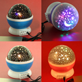 4 LED Bulbs Romantic Star Rotating Projection Lamp Star Moon Sky Projector Night Light 3 Model Light Kids Children Baby Bed Lamp