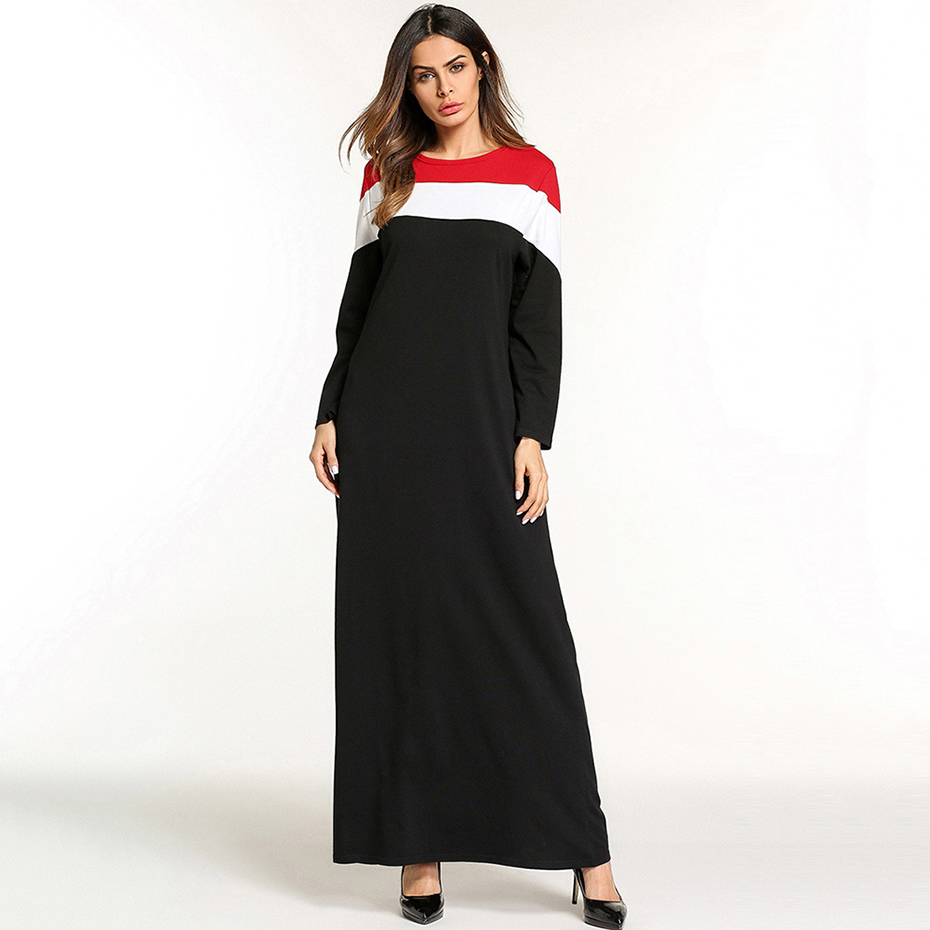 Black Fashion Dress Women Spring Patchwork Color Block Long Sleeve O-Neck Ankle-Length Pullover Elegant A-Line Striped Dresses