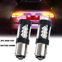 3030 1157 BAY15D 16SMD 80W 2PC White Turn Signal Brake LED Light Bulb Bright 900LM 6000K Turn Signals Light  Auto Accessories