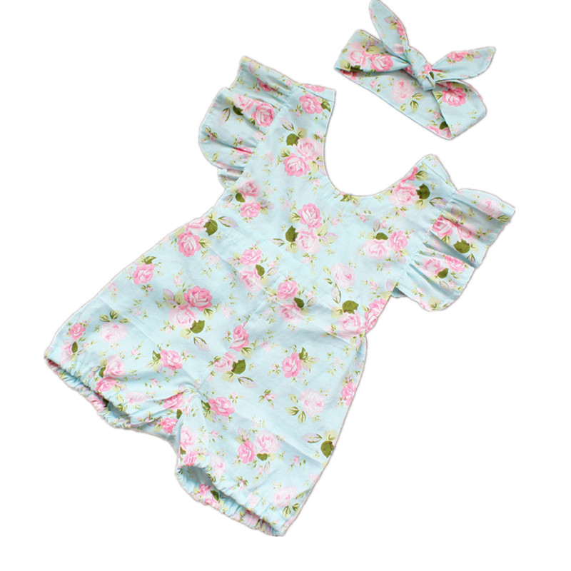 New Baby Girl Summer Clothes Set Infant Lotus Flower Rompers Prince Flouncing Braces Jumpsuit & Headbands Toddler Girls Clothing pink baby girl rompers lace ruffle for toddler birthday outfits infantil bebe jumpsuit summer 2016 girls clothes infant clothing