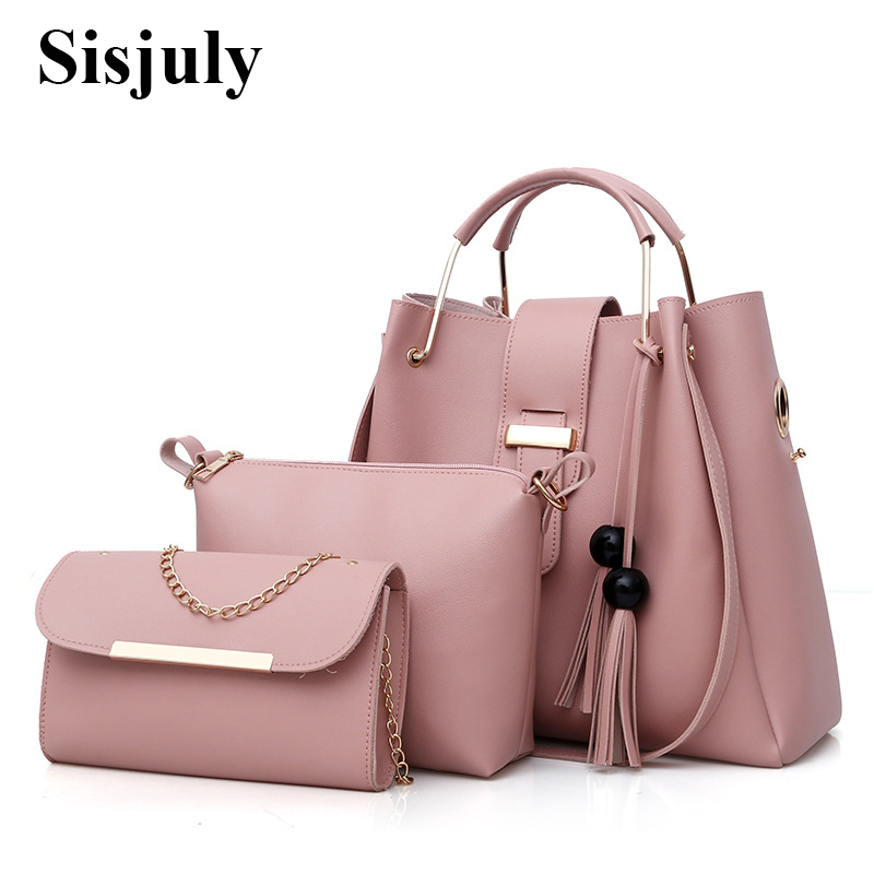3Pcs Sets Women Handbags Leather Shoulder Bags Female Large Capacity Casual Tote Bag Tassel Bucket Purses