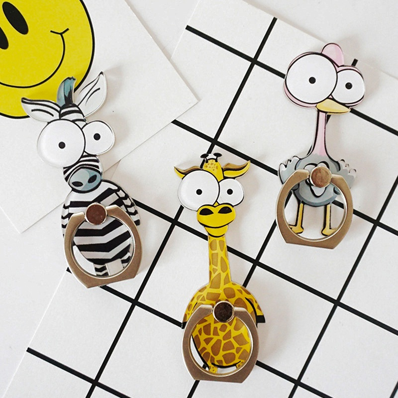 Universal Cartoon Animal Finger Ring Mobile Phone Holder 360 Degree Phone Ring Metal Stand Holder For Iphone