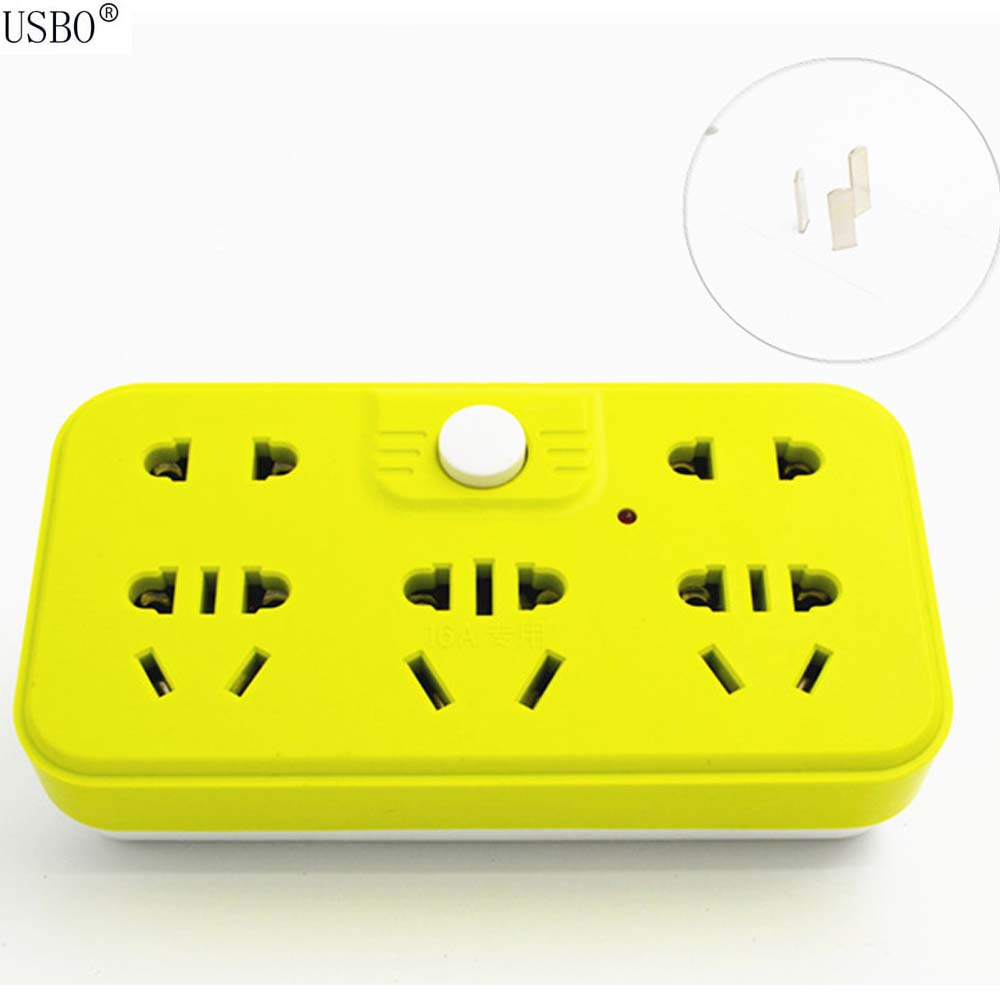 Yellow Blue Green 16A 220V Multifunctional Portable Home Travel Power Adapter Plug with Independent Switch Wireless Socket