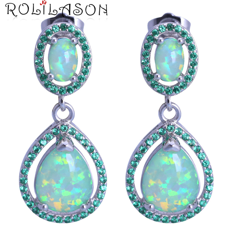 цены ROLILASON Party Water drop design green Fire Opal silver stamp Drop Earrings for women JE1155