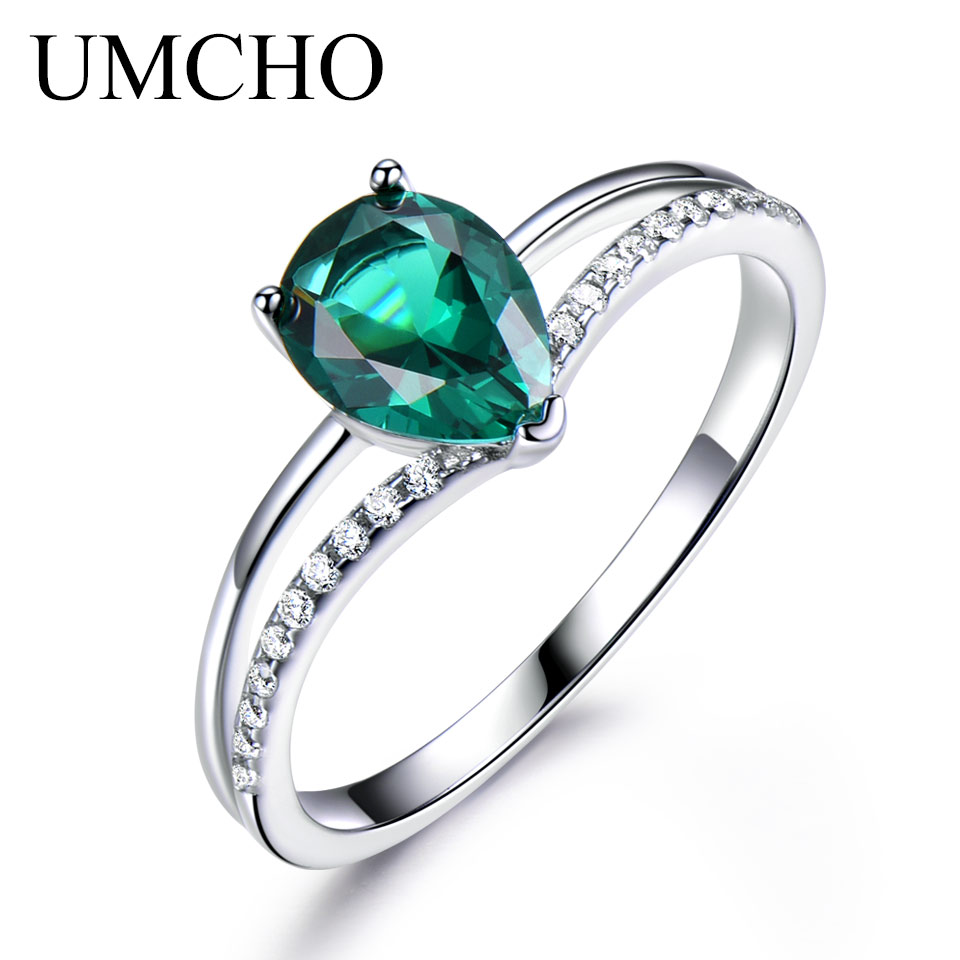 UMCHO Green Nano Emerald Engagement Rings For Women 925 Sterling Silver Ring Romantic Classic Water Drop  Fine Jewelry