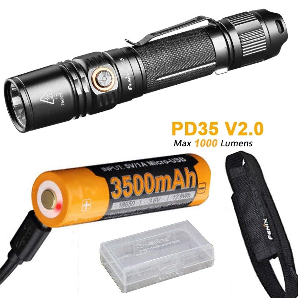 FENIX PD35 V2.0 Tactical Flashlight Cree XP-L HI V3 LED max 1000 lumen 6 working mode torch with 18650 3500 rechargeable battery цена