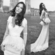 2015 Western Style White Lace Wedding Dress Long Sleeve Winter Bridal Gowns Peplum V Neck Custom Made Vestido de Noiva W3520