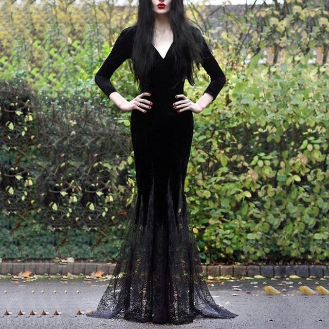 Vintage Gothic Sexy Women Black Slim Mermaid Lace Dress Halloween Evening Party Formal Occasion Long Maxi dress Punk Vestidos  1