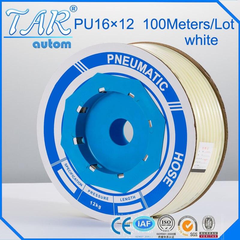 100 м/шт. высокое качество пневматический шланг PU внешний диаметр трубы 16 мм id 12 мм Пластик гибкая труба PU16 * 12 полиуретан трубки Белый