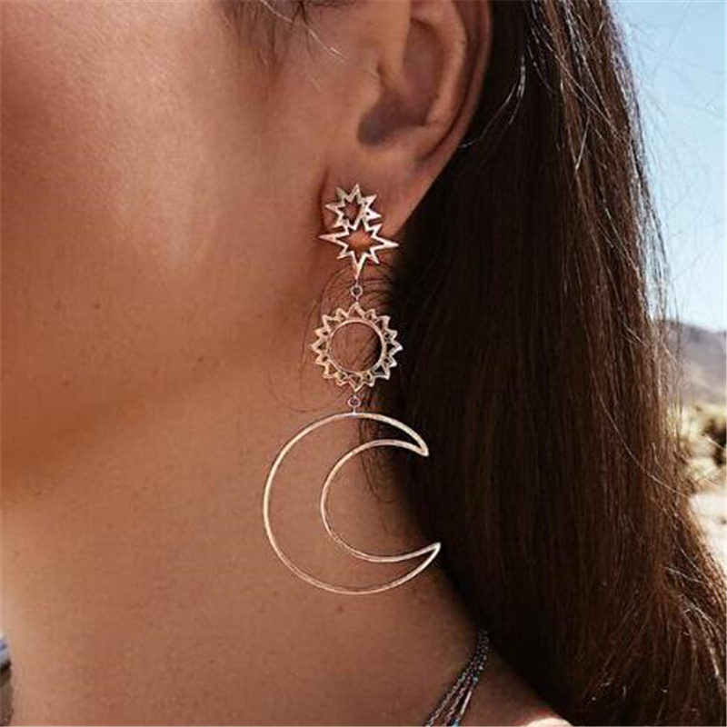 2018 female fashion asymmetrical Earrings hollow Sun Moon  Drop Pendant for femelle punk pendiente Earrings
