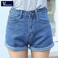Cintura alta Shorts Jeans Plus Size XL Feminino Short Jeans para As Mulheres 2016 Senhoras Verão Bermudas Quentes