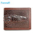 FONMOR Genuine Leather Men Wallets With Credit Card Holders Short Designer Male Vintage Purses  Crocodile 3D purse Wholesales