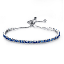 High Quality Adjustable Tennis Bracelet For Women Silver Color Blue Green Black Birthstone Crystal Jewelry