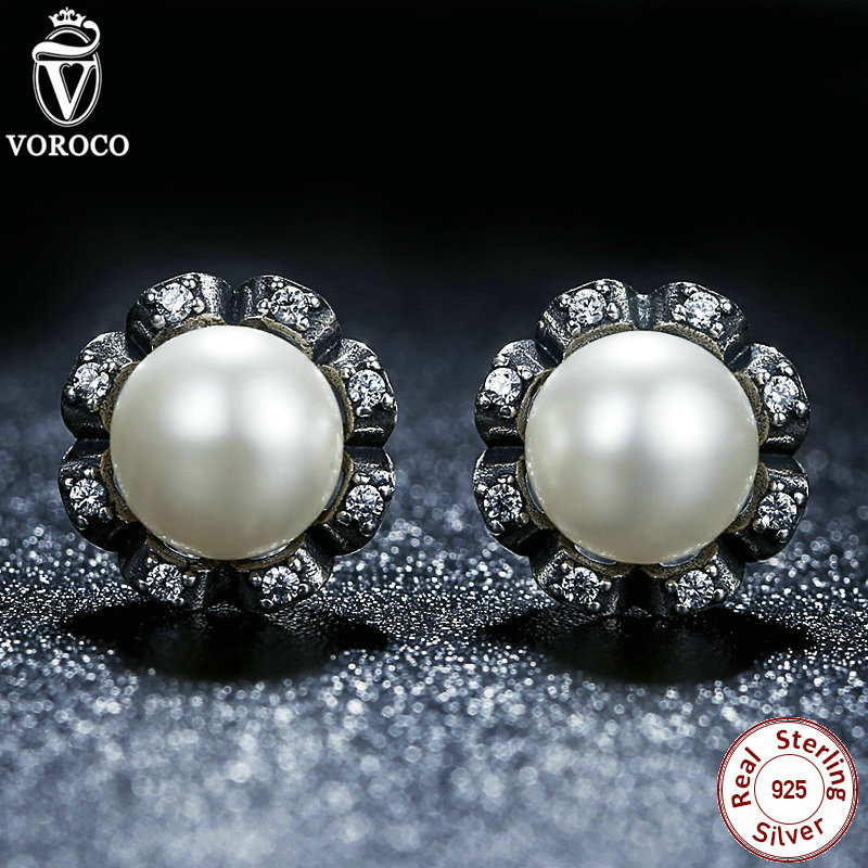 Original 925 Sterling Silver Everlasting Grace Stud Earrings Freshwater Cultured Pearl Women Jewelry Compatible with VRC