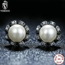 Original 925 Sterling Silver Everlasting Gracia Aretes de Perlas Cultivadas de agua dulce de Las Mujeres de La Joyería Compatible con VRC 424