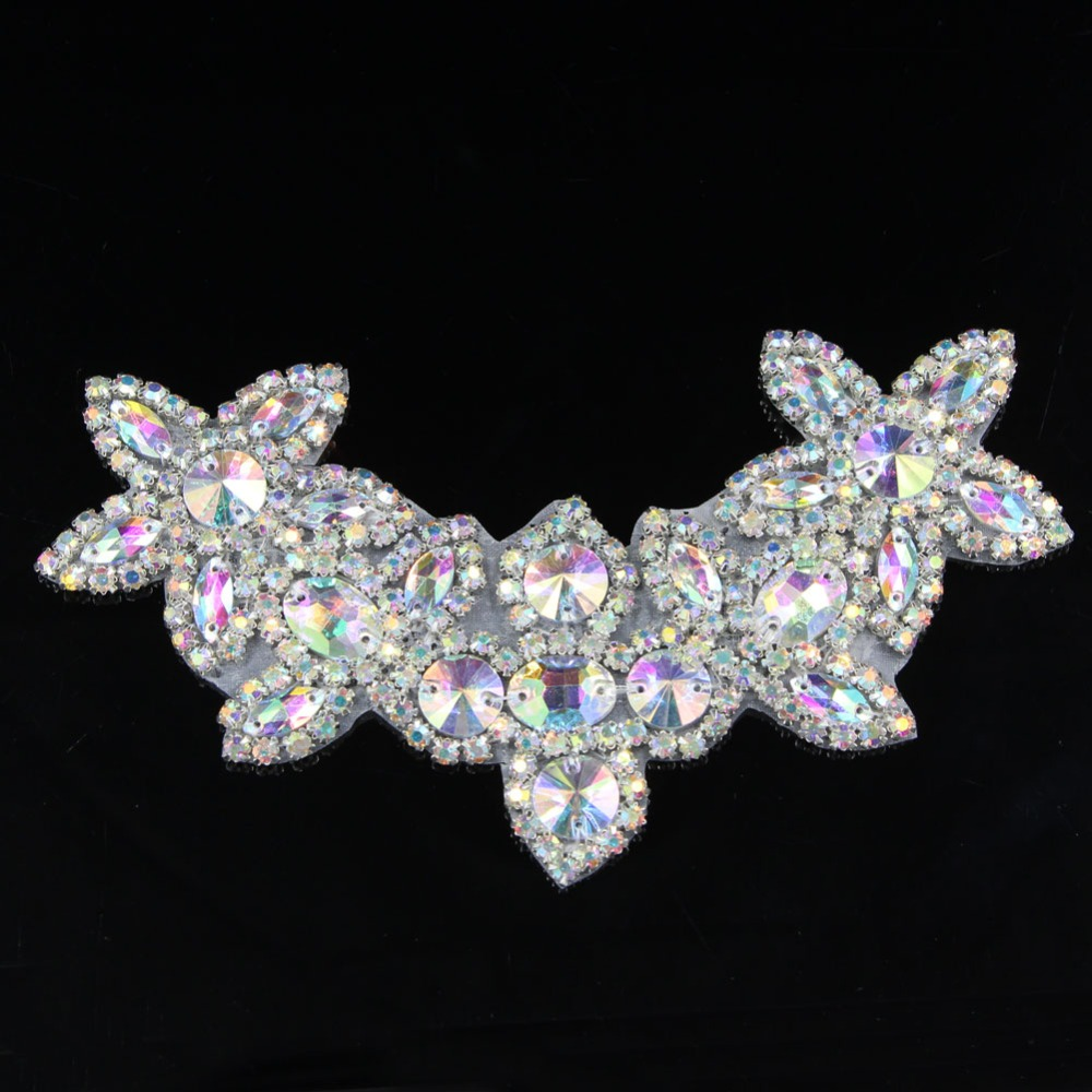1 Pc 17 * 10 cm Flor Applique Collar Lace Strass Artesanais de - Artes, Ofícios e Costura