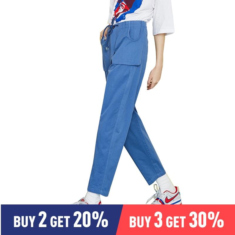 Toyouth 女性ハイウエストポケット巾着全身スリム綿ヒップホップ戦闘貨物ハーレムパンツ  グループ上の レディース衣服 からの パンツ & カプリパンツ の中 1
