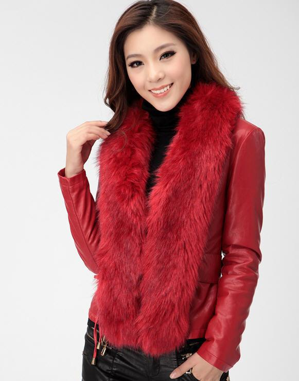 ФОТО Black/blue/red Hot selling 2014 Winter Fashion Fox Fur Collar Leather brand Down Jacket Women Slim Leather Outerwear Coat D2106