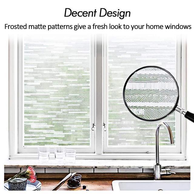 LUCKYYJ Window Vinyl Film Static Privacy Decoration Self Adhesive Film,for UV Blocking Heat Control Glass Window Stickers 2