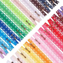 Vestido de casamento cor aleatória 5 pçs/lote, zíper rendas nylon acabamento zíper para costura vestido de noiva 20/25/30/35/40/50cm
