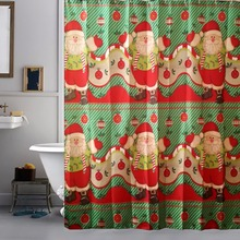 2016 High Quality Merry Christmas Fabric Waterproof Bathroom Shower Curtain Decor With Hooks Bath Curtains Cortinas Para Banheir