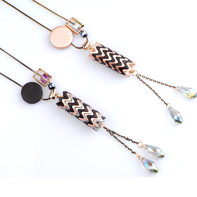 Long Sweater Chain Women Men Necklace Fashion Jewelry Crystal & Acrylic Unique Design Hot Sale Cheap Chinese Products 2 Colors