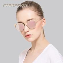 Moda Moda Óculos Polarizados Óculos de Sol dos homens Das Mulheres Designer de Marca Do Vintage Ouro Rosa Olho de Gato dos homens dos vidros de Sun Oculos de sol Feminino