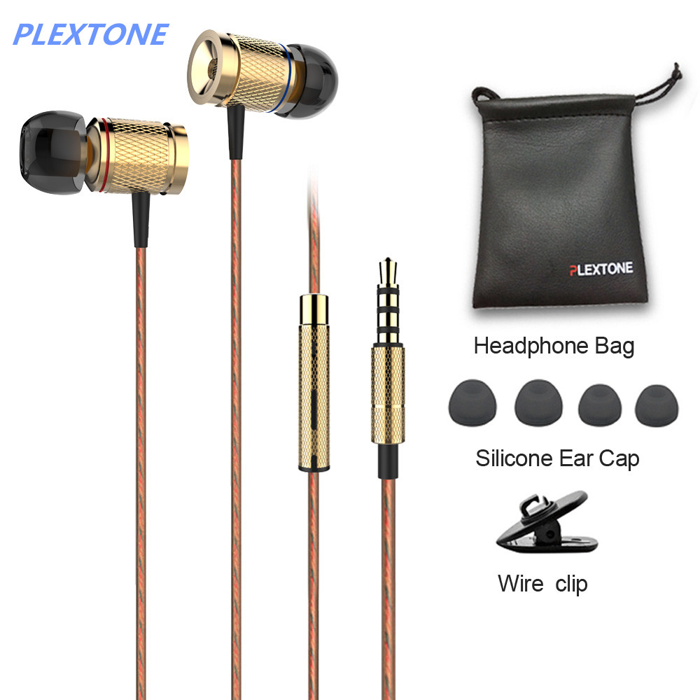 PLEXTONE X53M Sport Metal Earphone Magnet in-ear Wire Control Headphones Brand Music Headsets 3.5mm Plug For iOS Mobile Phone